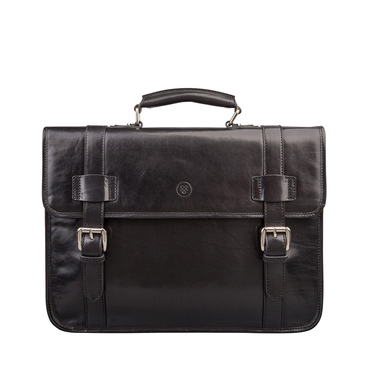 Maxwell Scott Mens Black Leather Backpack Briefcase (Micheli)