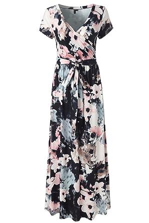 5301551750bd Image Unavailable. Image not available for. Color: Kranda Womens Summer  Vintage Floral Print Short Sleeve Maxi Long Dress