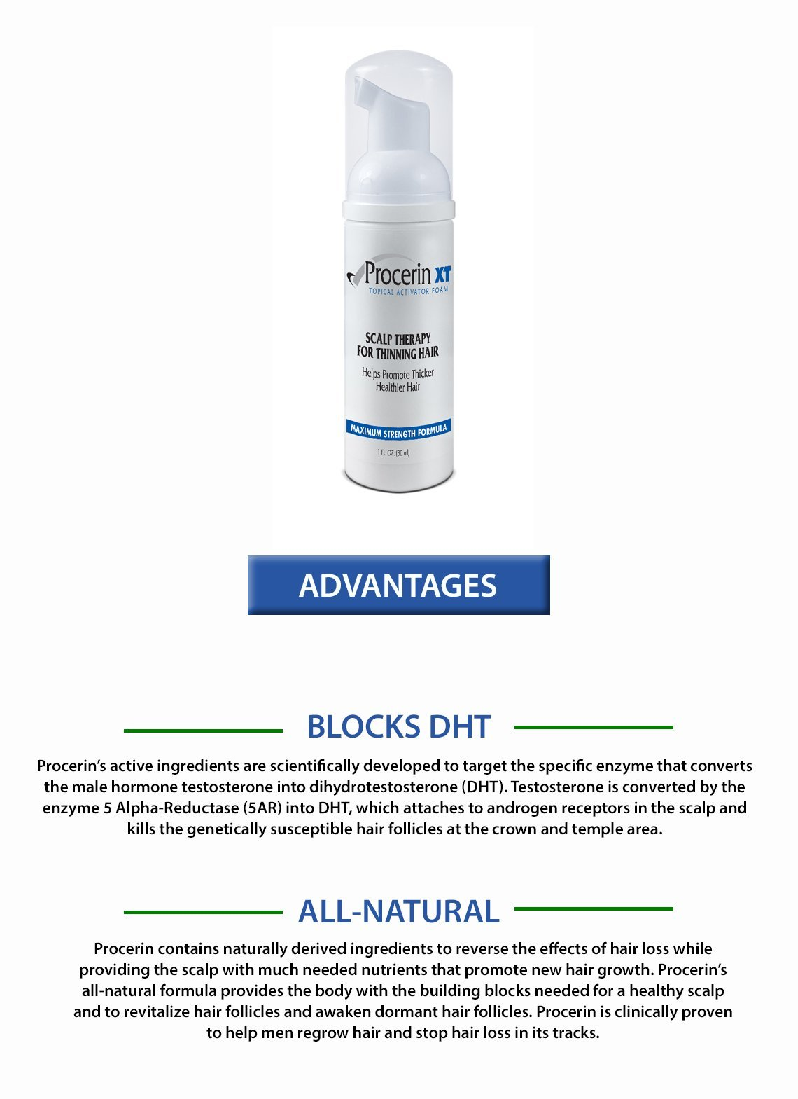 Procerin XT Foam Hair Loss Foam Product (No Minoxidil) - Clinically Proven to Combat Baldness & Thinning Hair by Procerin (Image #3)