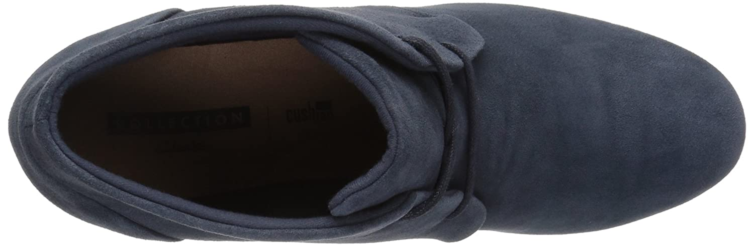 CLARKS Women's Flores Rose Ankle Bootie B01MSYHE07 11 B(M) US|Navy Suede