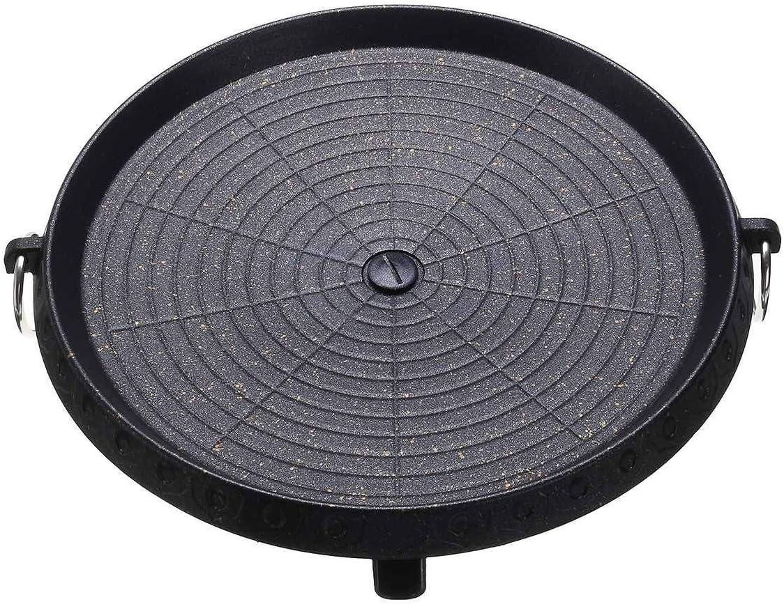 Padelle grill Outdoor Griglia for barbecue antiaderente barbecue rotonda Pan Griglie facilmente pulito alluminio fornello portatile a gas Accessori (Color : Black) Black