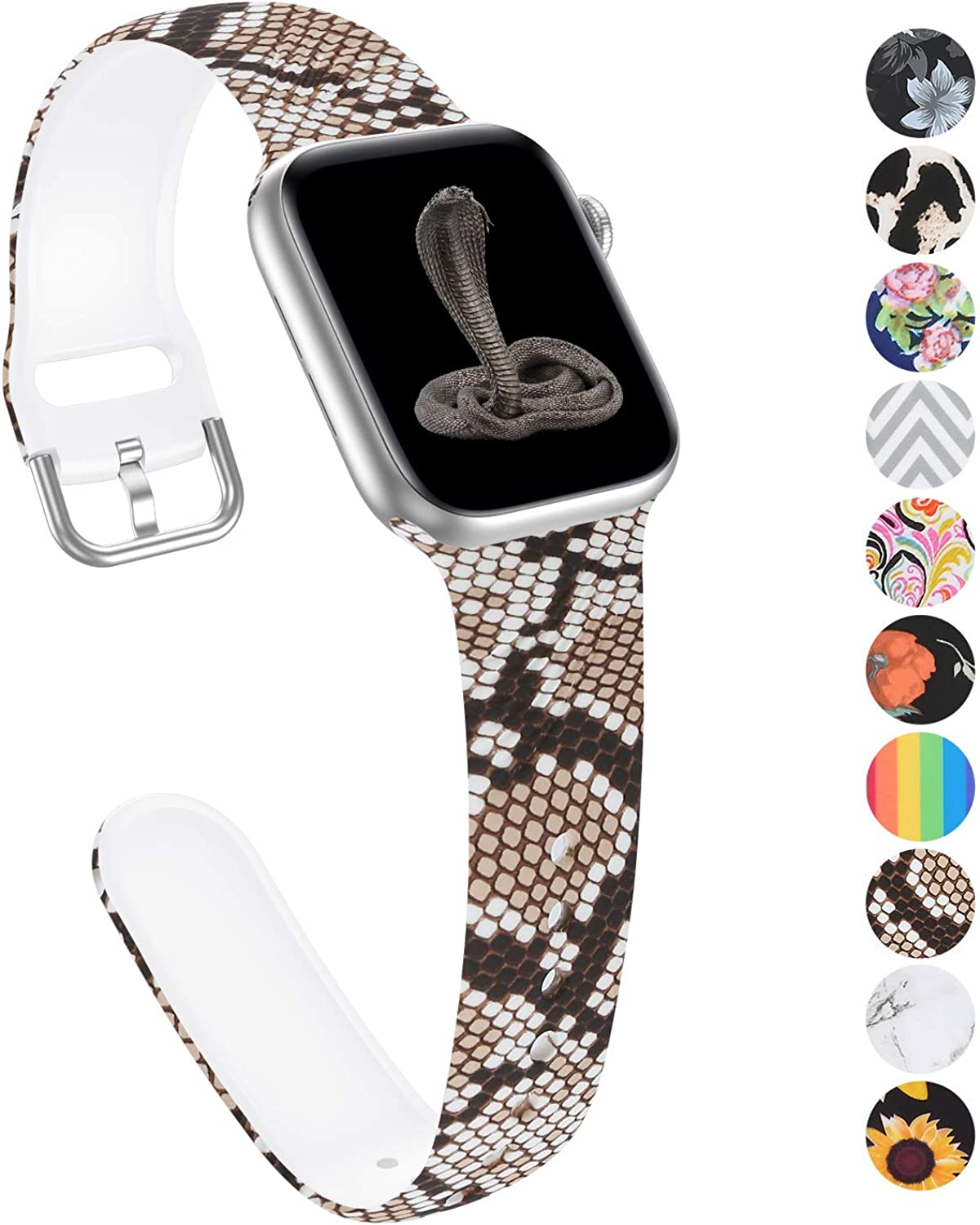 Floral Band Compatible with Apple Watch Band 40mm 38mm for Women Print Animal Silicone Sport Watch Band Replacement Band Compatible for Apple Watch Series 6 5 4 3 2 1 SE Sport Edition Hermès