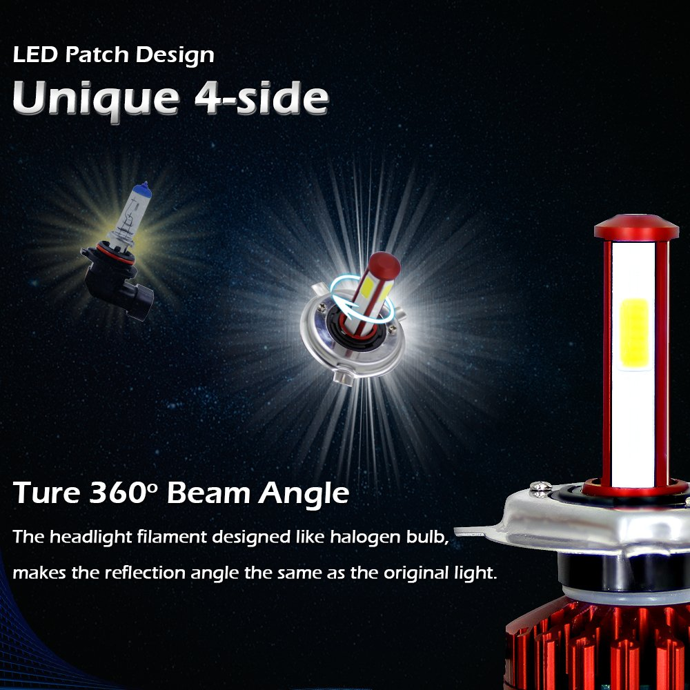 SIGHTLING 80W 8000LM H4 LED Phare Auto Car Lampe Feux All-in-One Conversion Ampoule Light 6000K IP65-2 Ans de Garantie
