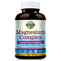 Terranics Magnesium Complex, Broad-Spectrum, 500mg, 120 Veggie Capsules, Chelated for Maximum Absorption, Support Sleep Stress and Anxiety Relief, Muscle Relaxation Recovery, NON-GMO, Soy, Dairy & Glu