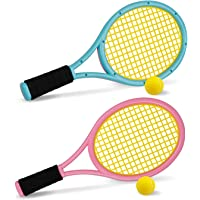 Ewandow Kids Tennis Racket Set with Ball, Plastic Tennis Racquet for Children Outdoor Toys for Toddlers Age 3-5(pink…