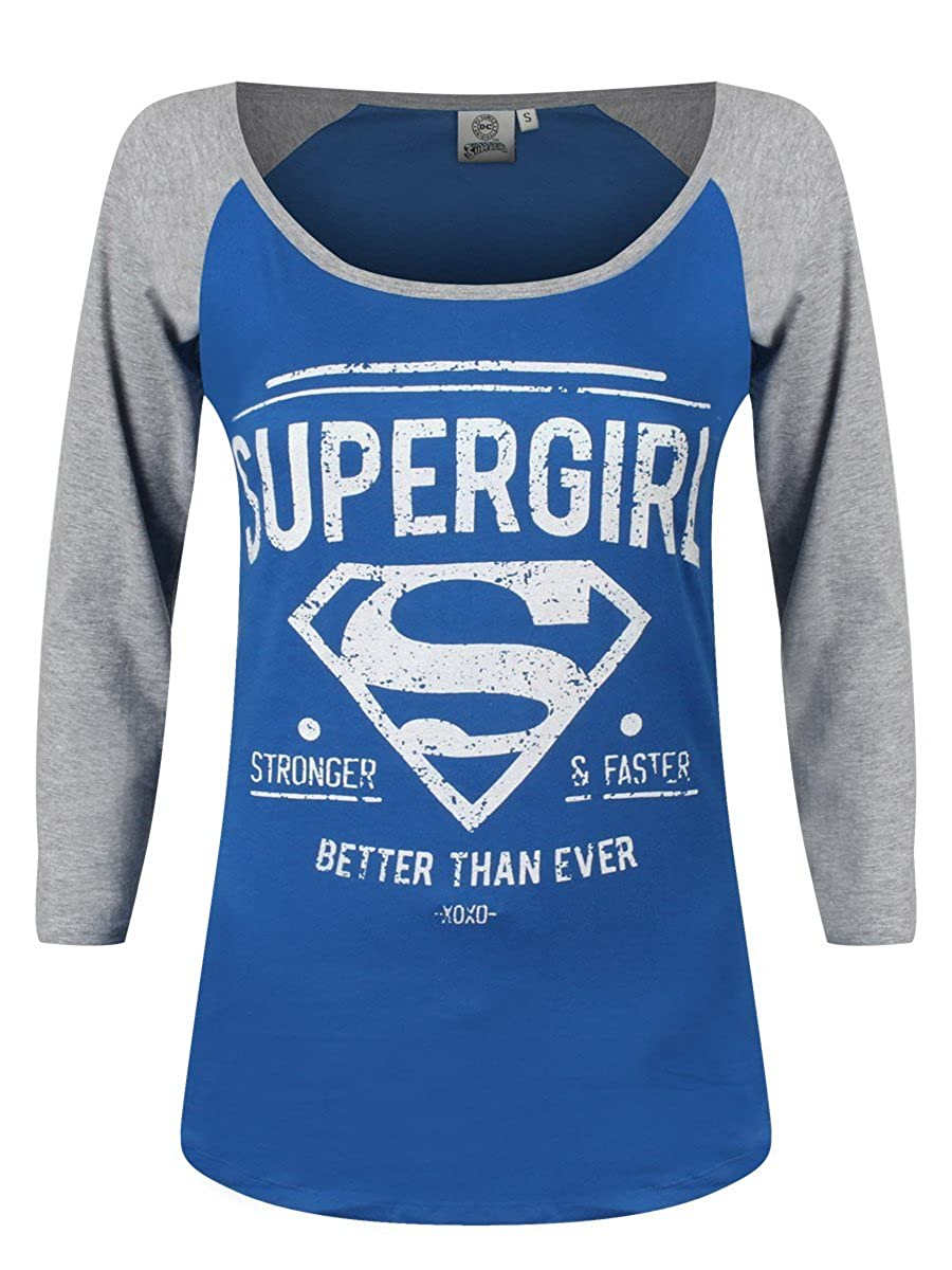 Supergirl Stronger & Faster Girl-Longsleeve blau/grau Superplay International