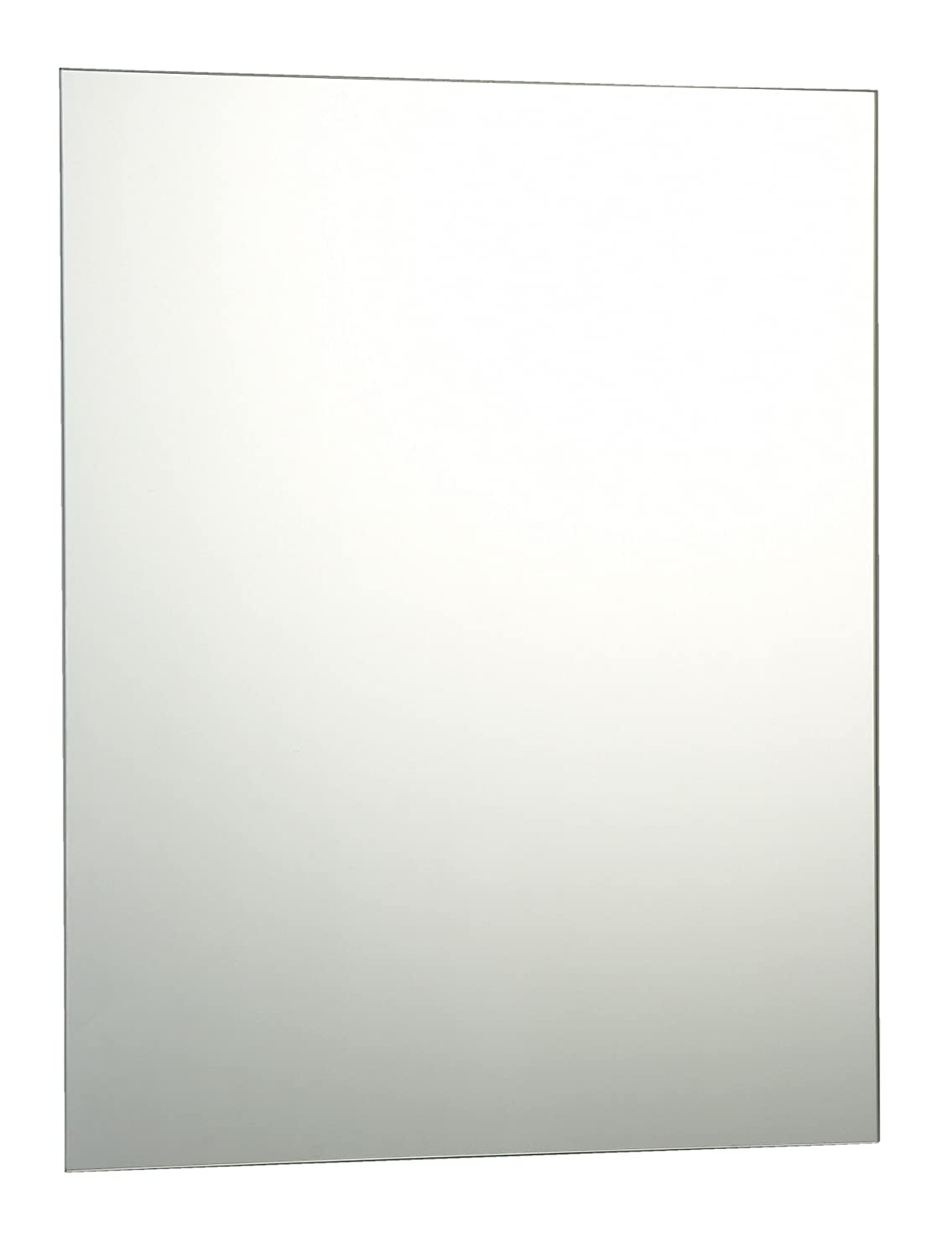 50 x 40cm Plain Frameless Bathroom Rectangle Mirror with Wall Fixings