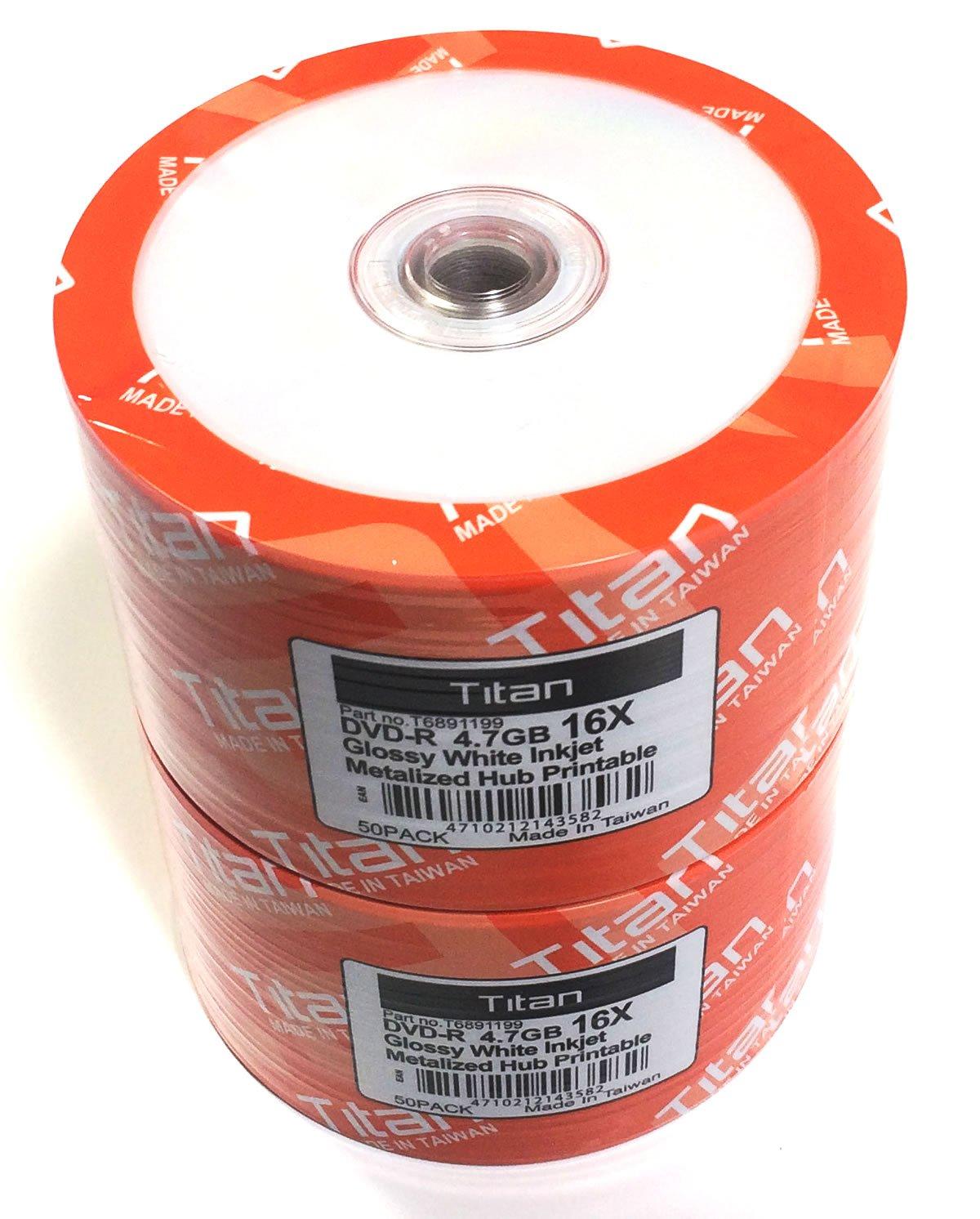 100-Pack Titan 16X DVD-R Glossy White Inkjet Hub Printable (T6891199-100)