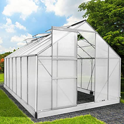 Invernadero de aluminio con base de acero, 17,2 m³, casa jardín,