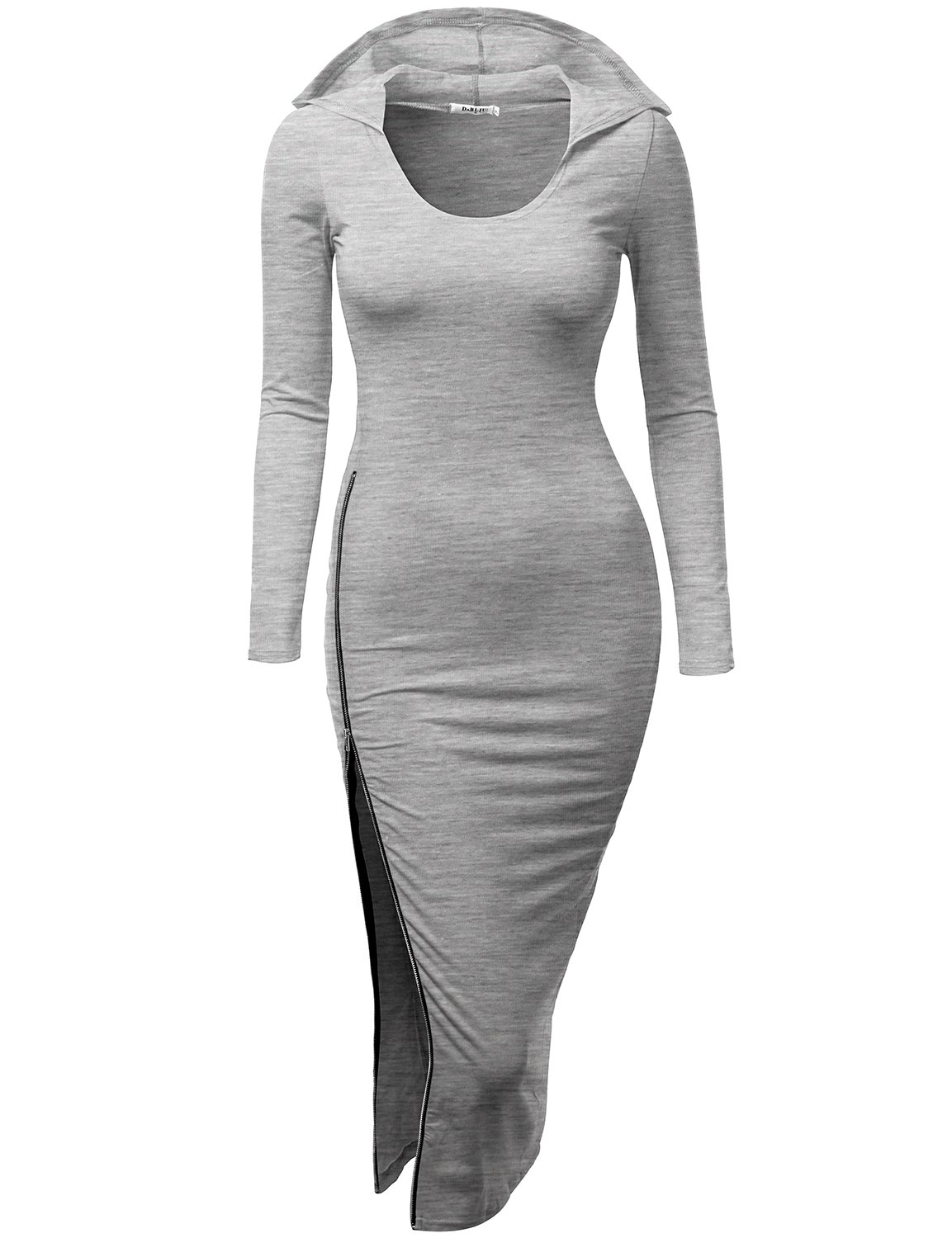 Doublju Fitted Dress With Sexy Side Zipper Point For Women With Plus Size GRAY MEDIUM