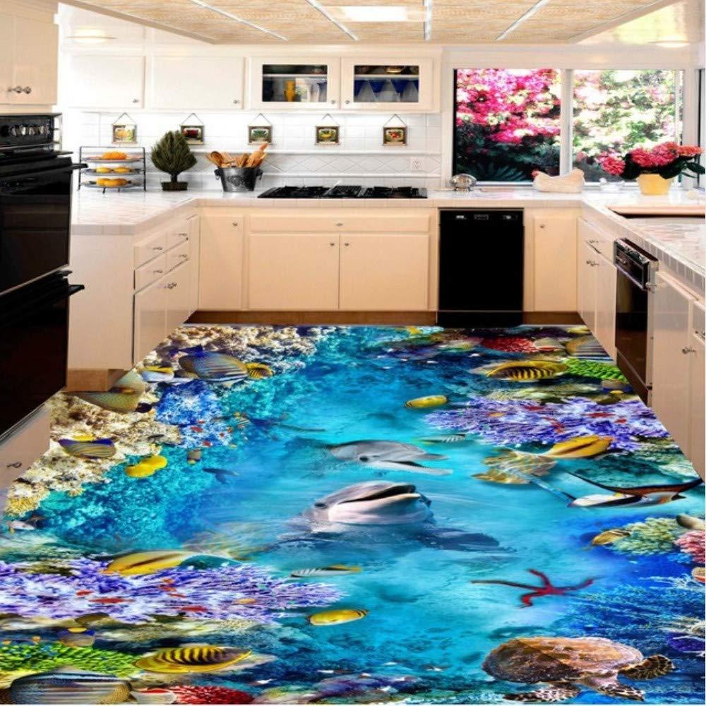 marca 200x140cm Pbbzl  Sea World Dolphin Turtle Estéreo 3D 3D 3D Sala De Estar Cocina Antideslizante Impermeable De Alta Calidad De Fondo De Pantalla Mural200X140Cm  ofreciendo 100%