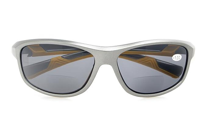 f540fd162c2 Womens Sports Polarized Bifocal Sunglasses Lightweight TR90 Frame UV 400  Protection Outdoor Sun Readers Grey Frame