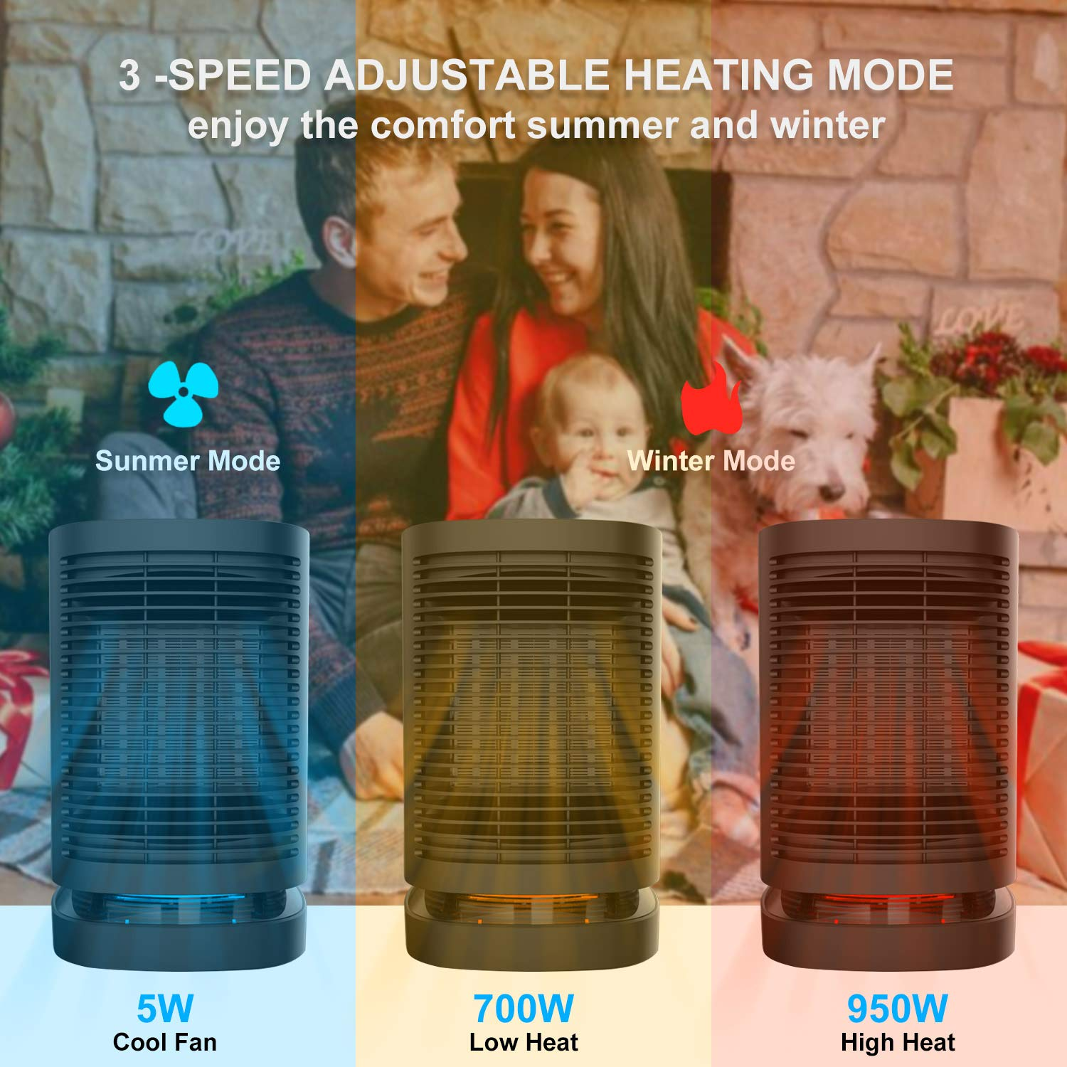 Portable Electric Ceramic Space Heaters, 2 in1 2SPersonal Heater Fan with Auto Oscillating Hot & Cool Mode, Features Built-in Timer and Tip-Over & Over-Heat Protection 950W with Worldwide Adapters