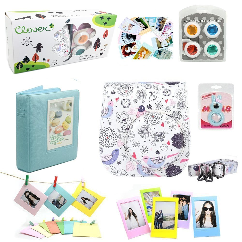 CLOVER 7 in 1 Accessory Bundles Set For Fujifilm Instax Mini 8 Instant Camera (Bird Flower Fish Case Bag/ Album/ Colorful Filter/ Close-Up Lens / Wall Hanging Frame/ Photo Frame/ Sticker Borders)