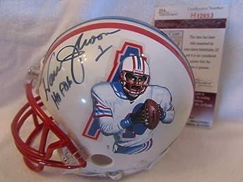 c9648f4fb Warren Moon Autographed Signed Hand Painted Houston Oilers Mini Helmet  Memorabilia - JSA Authentic