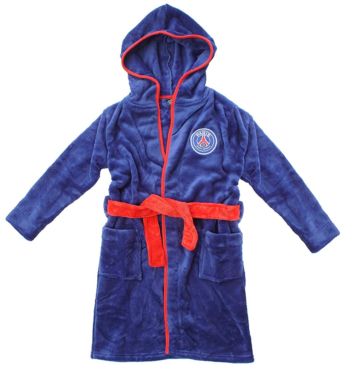 Boys Official PSG Paris Saint Germain Hooded Dressing Gown Bathrobe Sizes from 3 to 12 Years