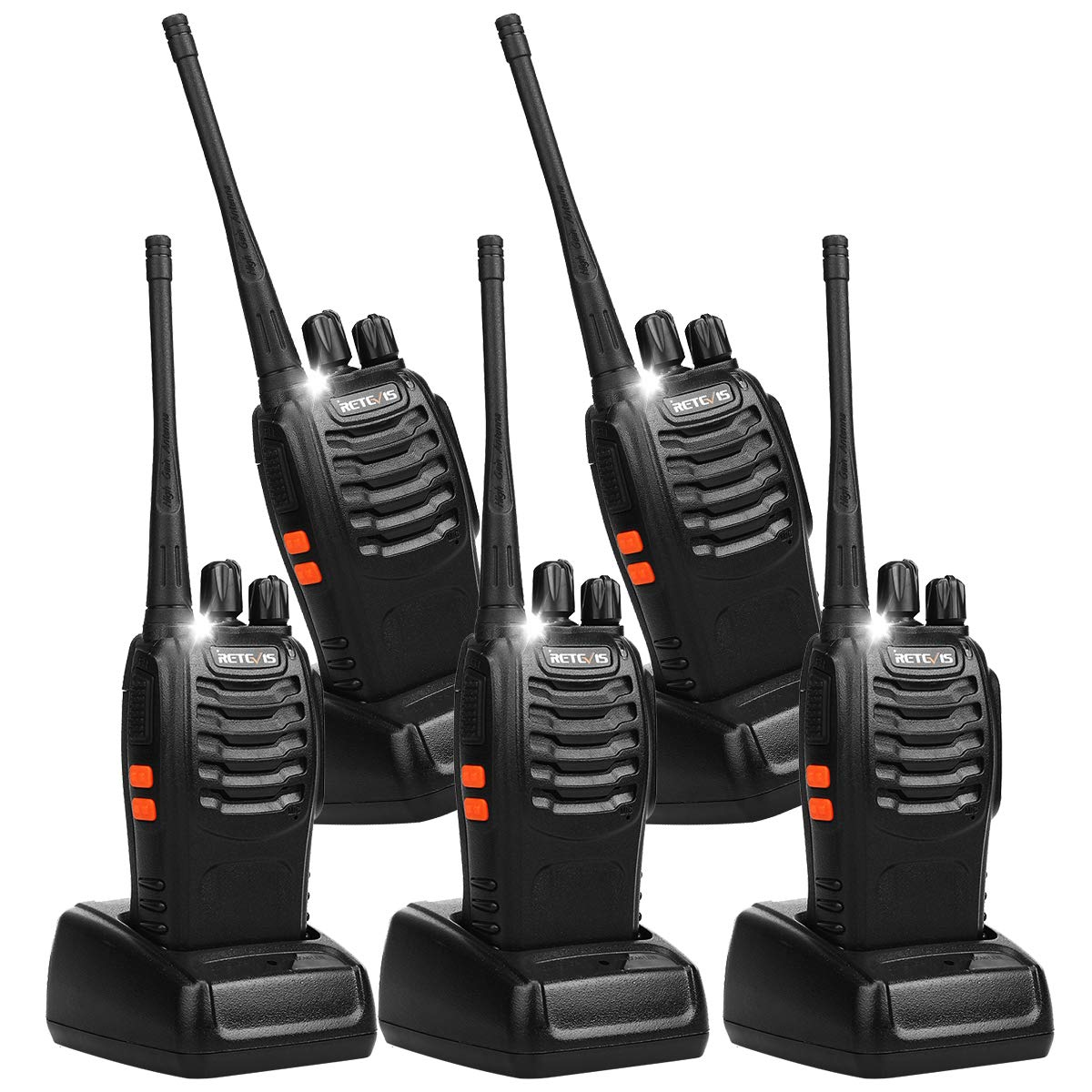 Retevis H-777 2 Way Radio Walkie Talkies UHF 16CH CTCSS/DCS Flashlight Walkie Talkies (5 Pack) by Retevis