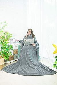 Alcea Rosea TV Blanket Shu Velveteen Soft Plush Big Size Blanket with Sleeves and Back feet Pocket,Cozy,Functional,Lightweight Wearable Throw Robe for Adult,Women Men-79'' x 60'' (Light Grey)