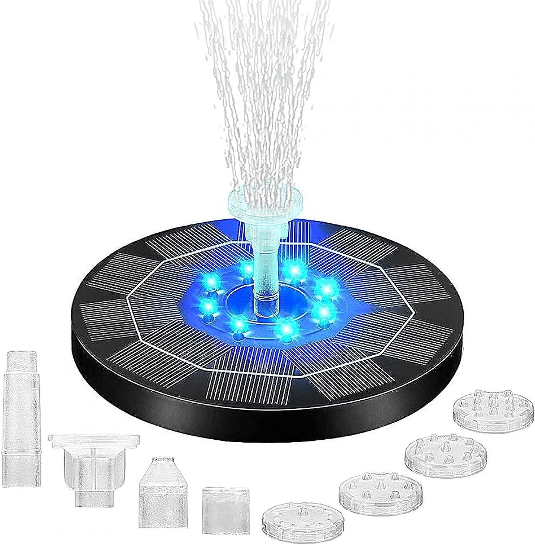 CALIDAKA Solar Fountain,3WSolar Powered Fountain Pump Solar Bird Bath Fountain Pump with 8 LED Lights and 6 Nozzles for for Bird Bath,Garden,Pond,Pool,Outdoor Decoration