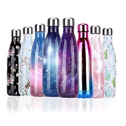 YCLIFE Botella Agua de Acero Inoxidable 500ml, Nuevo Diseño Sin BPA, Aislamiento de Vacío de Doble Pared Durante 24 Horas Frío y 12 Cálido, Deporte, ...