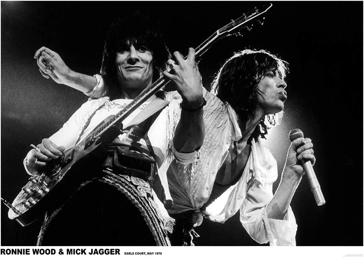 Rolling Stones - Póster de Ronnie Wood y Mick Jagger Earls Court 1976