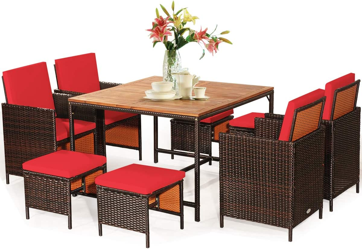 Tangkula 9 Pieces Wood Patio Dining Set, Space Saving Wicker Chairs and Wood Table with Umbrella Hole Outdoor Furniture Set, Suitable for Garden, Yard, Poolside, Outdoor Seating Set (Red)