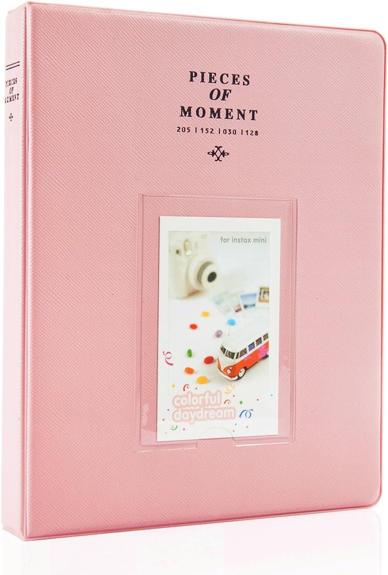 CAIUL Compatible 128 Pockets Mini Photo Album for Fujifilm Instax Mini 7s 8 8+ 9 25 26 50s 70 90 Film, Polaroid PIC-300 Z2300 Film (Pink)