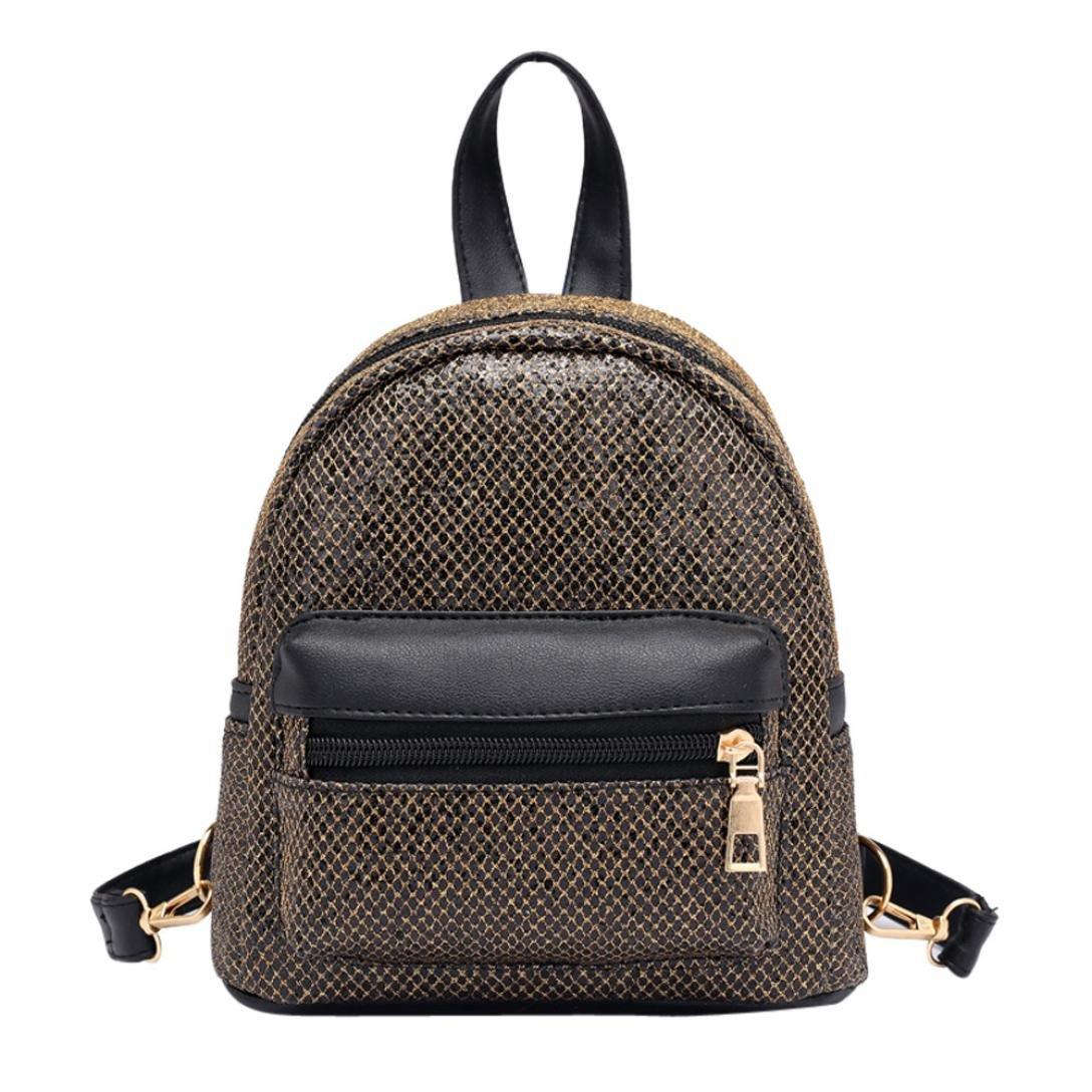 Inkach Womens Backpack Purse ❤️ Fashion Girls Mini Sequins School Bags Travel Rucksack (Gold)