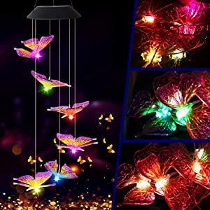 Butterfly Solar Light, Epicgadget Solar Butterfly Wind Chime Color Changing Outdoor Solar Garden Decorative Lights for Walkway Pathway Backyard Christmas Decoration Parties (Purple Wing Tip Butterfly)