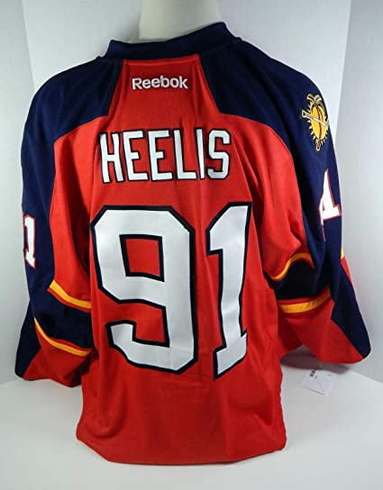 finest selection ce86d 2f005 2013-14 Florida Panthers Liam Heelis #91 Game Issued Red ...