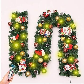 Decoraciones guirnaldas Navidad, 2.7M Chimeneas Escaleras Guirnaldas Decoradas Guirnalda 8 Modos Batería Luces LED Bolas iluminadas Bola Flores Árbol Navidad Decoración Festiva: Amazon.es: Deportes y aire libre