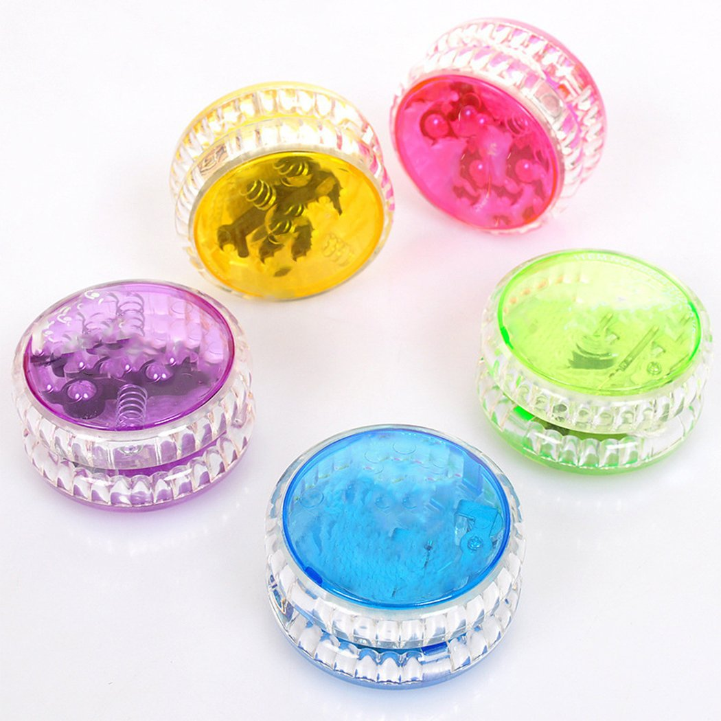 Clieos Transparent YoYo, Plastic Auto-Return Light up YoYo Balls, Professional Auto-Return with String for Children /Kids /Adults (Blue)