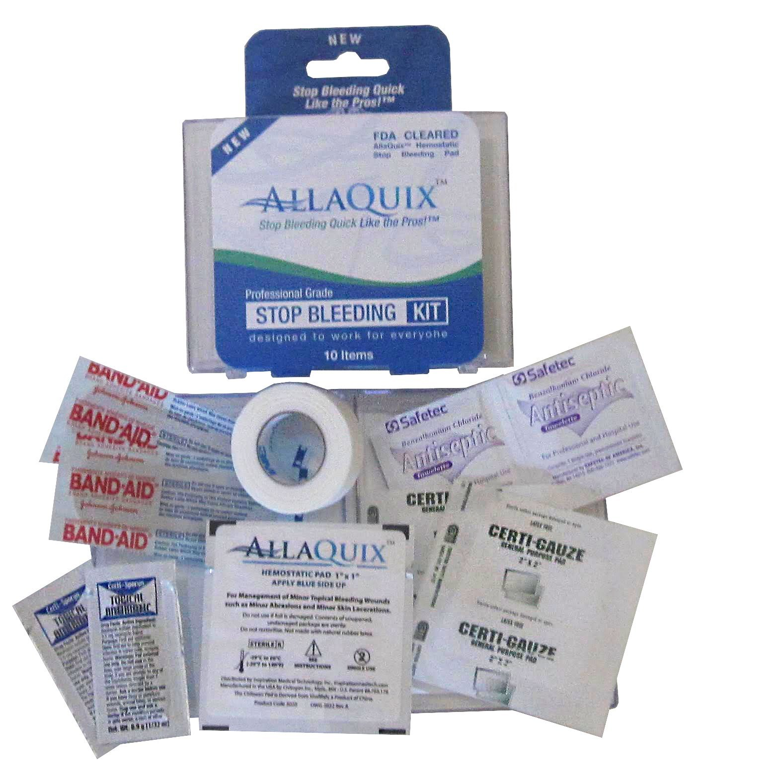 Inspiration Medical Technology AllaQuix Stop Bleeding Kit-First-Aid Trauma Kit, Includes One Small 1'' x 1'' AllaQuix Stop Bleeding Gauze Pad (Blood Clotting Bandage)