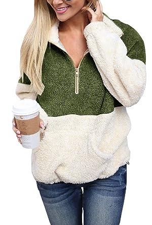 12336730323b1 Yskkt Plus Size Sherpa Pullover Womens Sweatshirt Half Zip Fuzzy Fleece  Jacket Winter Coat Outwear with