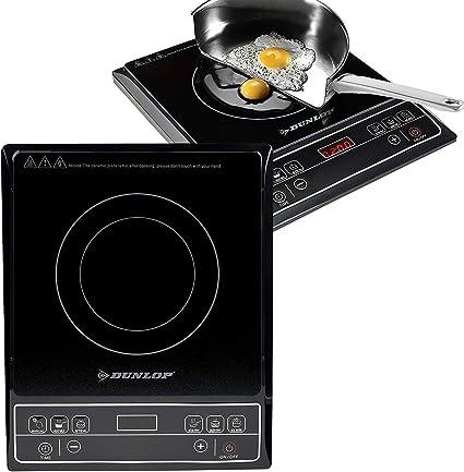 Dunlop - Placa de inducción (1600 W, pantalla digital y teclas de sensor, incluye protección contra sobrecalentamiento, con temporizador, 6 ajustes ...