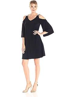 552ef4607e49 MSK Women's 3/4 Cold Shoulder Flutter Sleeve Dress, Black, S at ...