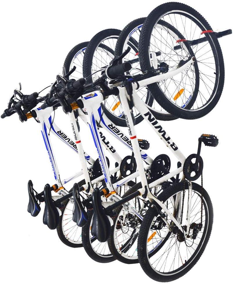 Qualward Bike Wall Mount Storage Rack for Garage Home Bicycle Hanger – Hanging 4 Bicycles, 2 Pack