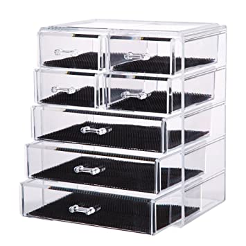 Vencer Big Cosmetics Makeup And Jewelry Storage Case Display (3 Large And 4  Small Drawers