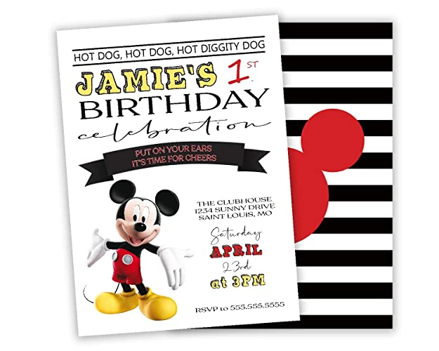 Amazon Com Mickey Mouse Birthday Party Invitation Personalized