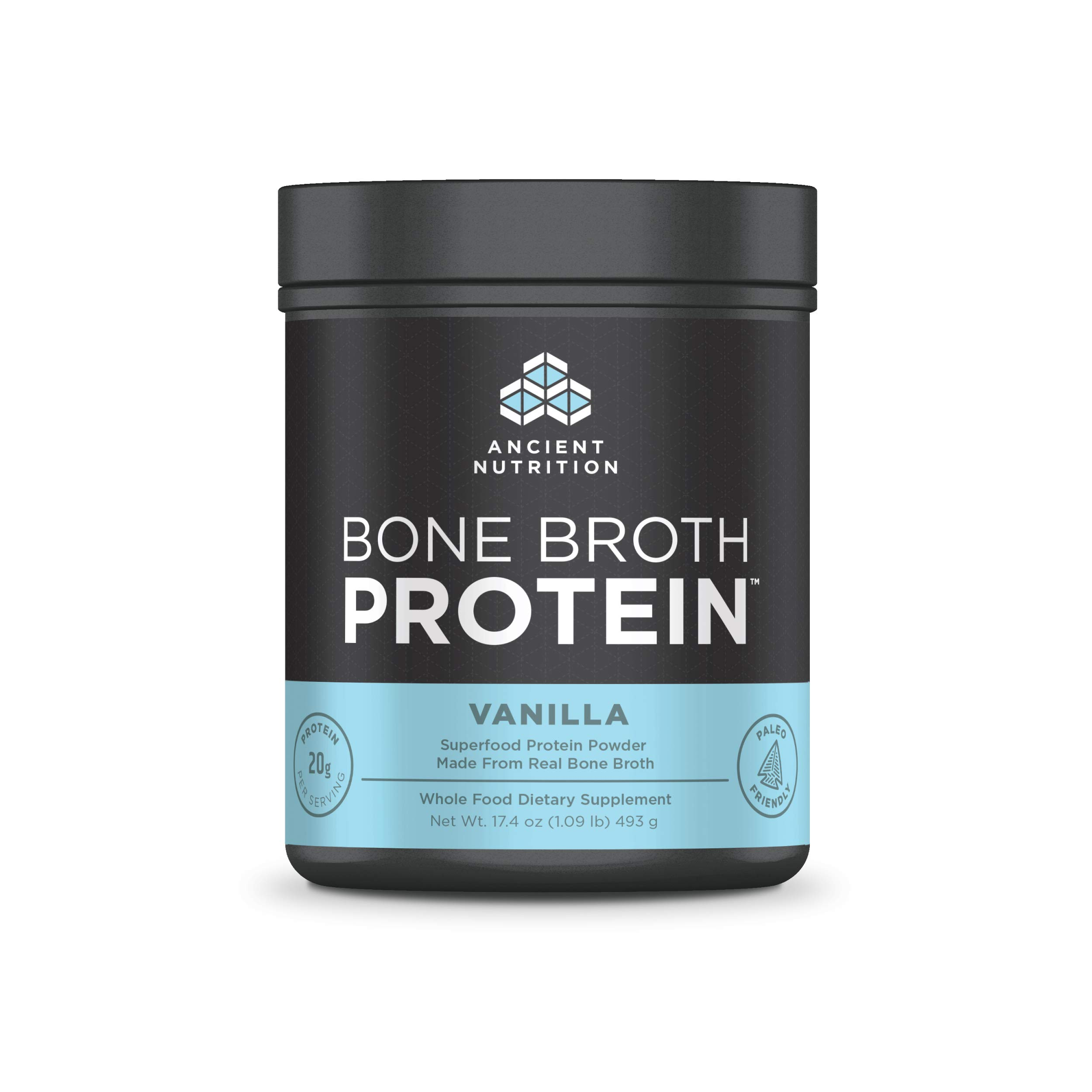 Ancient Nutrition Bone Broth Protein Powder, 20g Protein Per Serving, Paleo, Low Carb Superfood, Vanilla, 20 Servings by Ancient Nutrition
