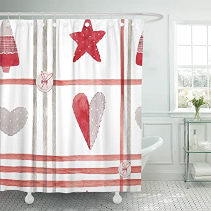 TOMPOP Shower Curtain Cute Watercolor Christmas Pattern Star And Heart In Patchwork Style Lines Gray Button