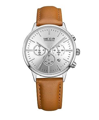 d3f007ad10d Megir Chronograph Date Indicator Brown Leather Strap Quartz Wrist Watch for Women  Ladies Fashion Gold Rose