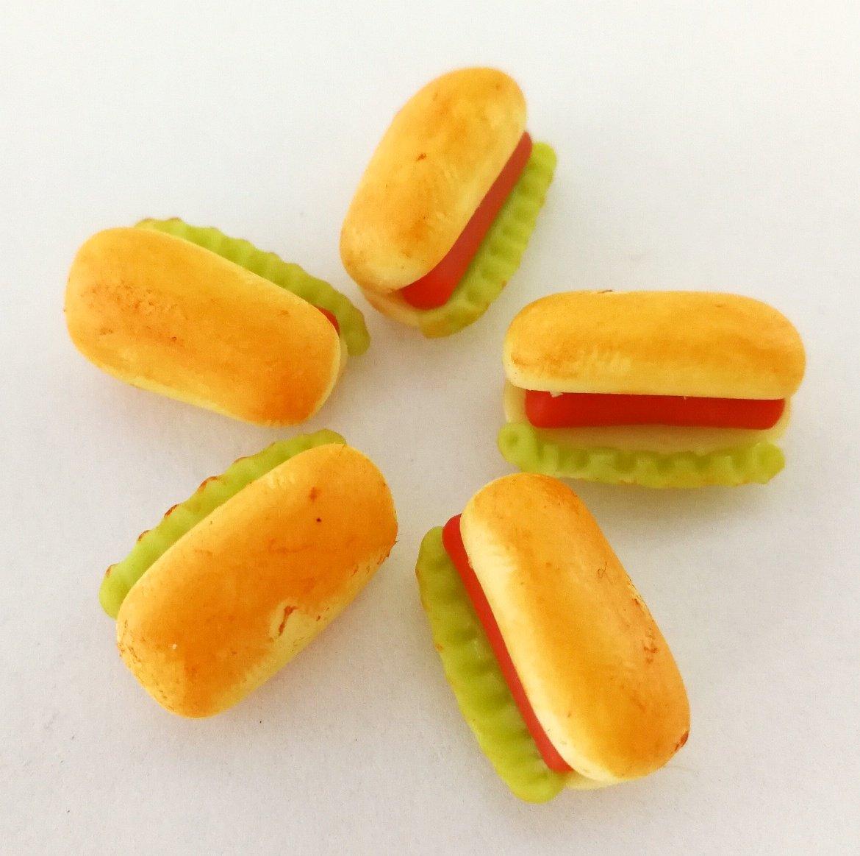 5 pcs Dollhouse Miniature Food 7x15mm Scale 1:12 Hotdogs Bread JJ Handicraft