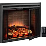 PuraFlame Klaus Electric Fireplace Insert with Fire Crackling Sound, Glass Door and Mesh Screen, 750/1500W, Black, 33 1/16 In