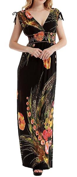 GEMVIE Vestido Mujer Túnica Larga Manga Corta Casual Talla Grande Cuello V Playa Flores: Amazon.es: Ropa y accesorios