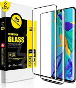 SMARTDEVIL 2 Pack Full Screen Protector Foils for Huawei P30 Pro Protective Tempered Glass for 6.47 Inch Screen with Installation Tool, High Definition,9H Hardness Support Shockproof, Anti-Scratch