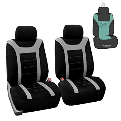 FH Group Sports Fabric Car Seat Covers Pair Set (Airbag Compatible), Gray/Black- Fit Most Car, Truck, SUV, or Van: Automotive