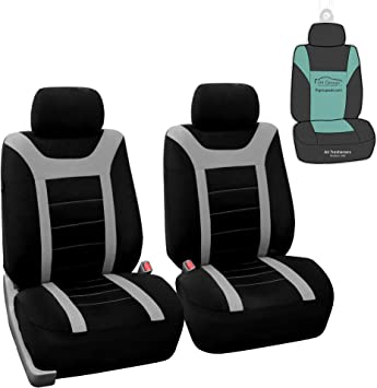 Amazon Com Fh Group Sports Fabric Car Seat Covers Pair Set Airbag Compatible Gray Black Fit Most Car Truck Suv Or Van Automotive