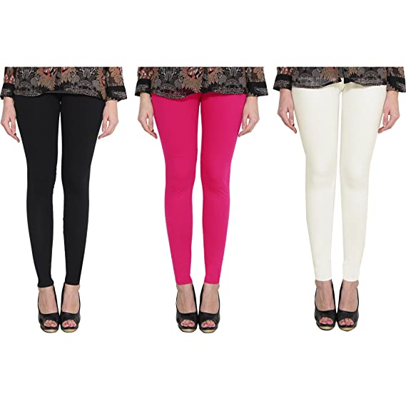 2f577ef0ff453 NICE CREATIONS Ankle Length Black Pink Off-White Cotton Lycra Premium  Leggings for Women: Amazon.in: Clothing & Accessories