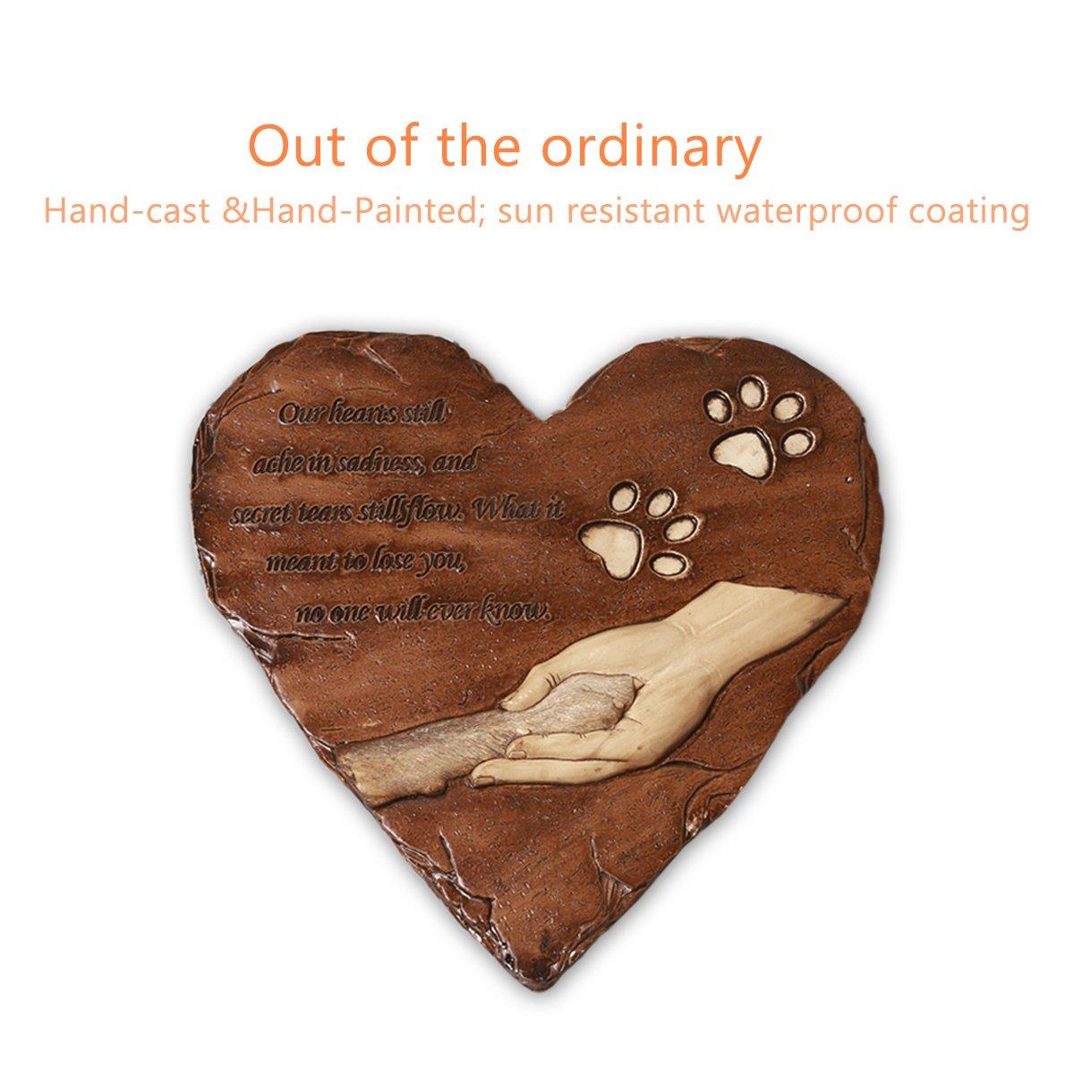 Amazon.com : JHB Dog Memorial Stone, Hand-printed heart-shaped ...